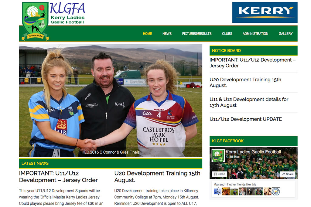 Sports Website Design for Kerry Ladies Football