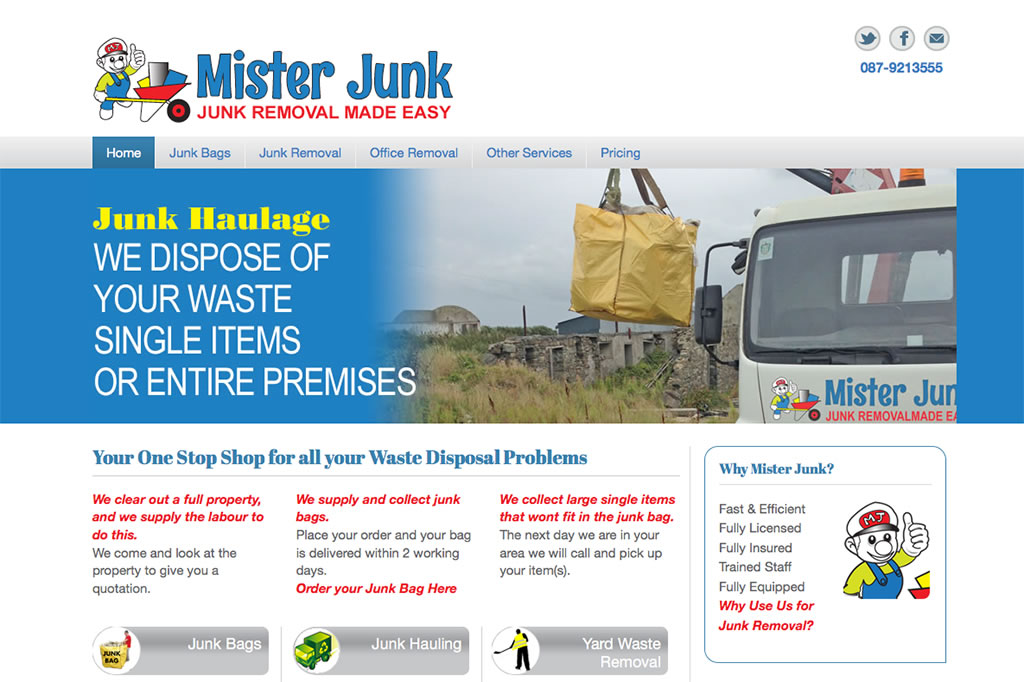 Website with payment online for Mister Junk