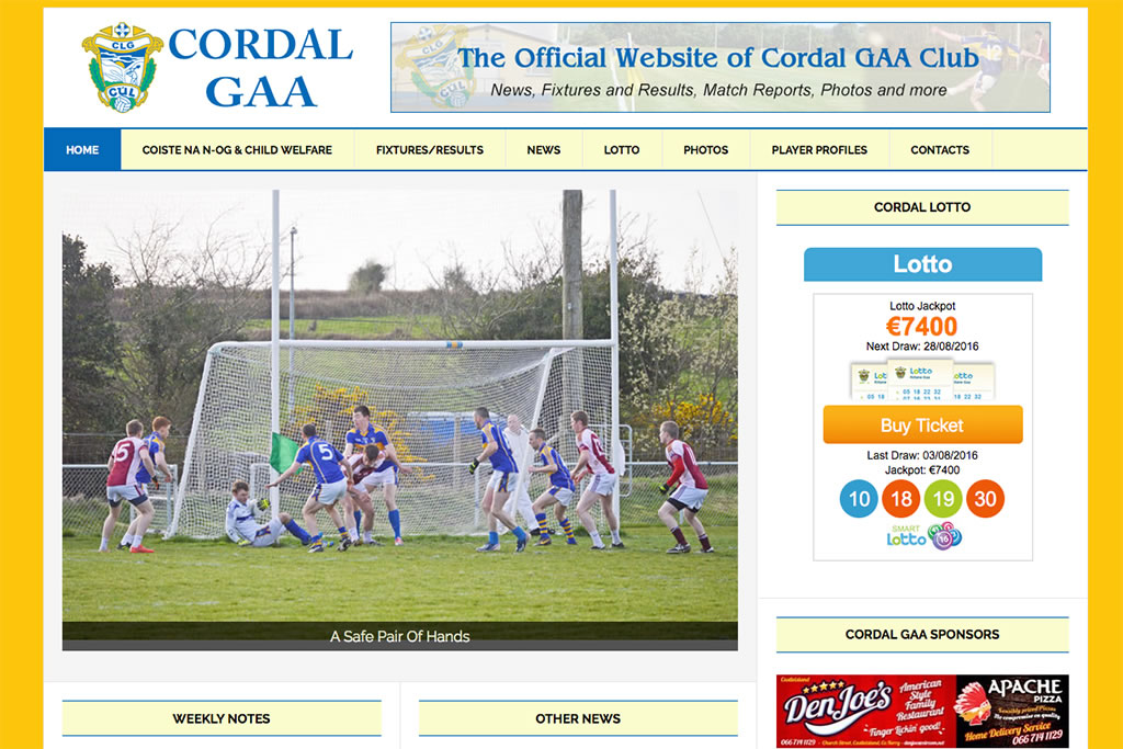 GAA Club Website Design for Cordal GAA