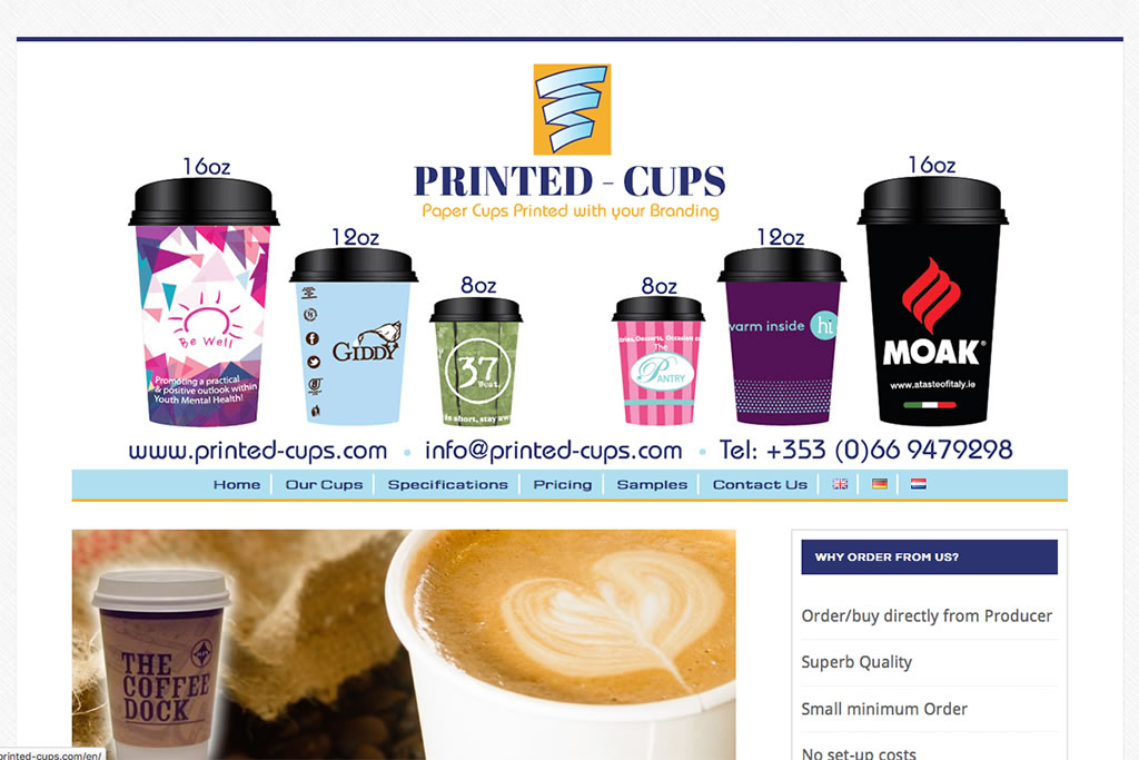 Multilingual Website Design for Printed Cups