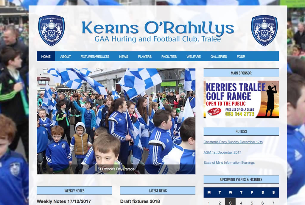 GAA Club Website Design Kerins O'Rahillys